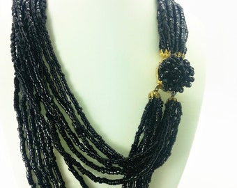 Vintage Multi-strand Black beaded necklace
