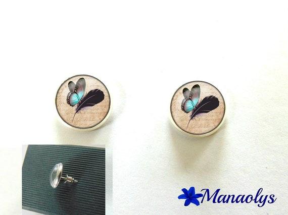Round silver Stud Earrings, blue butterflies, 2992 glass cabochons