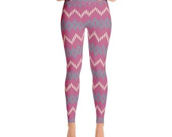 Purple Zig Zag Striped - Yoga Leggings