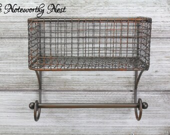 Basket & Towel Rod -bathroom organization / kitchen organization / Industrial Kitchen / Industrial Bathroom / Farmhouse Kitchen/ Wire Basket