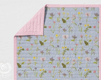 Cot Quilt Wildflowers on Chambray. Wholecloth Kids Quilt || STYLE 2 || Printed in Australia. Made to Order. Ships in 4-6 weeks