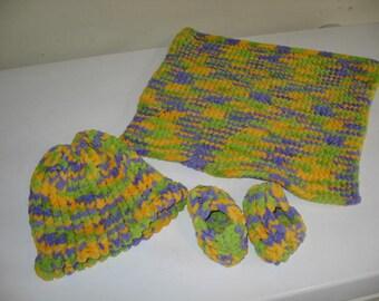 Baby Hat, Booties & Lovey Set