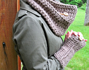 Crocheting Patterns Cowl and Wrist Warmers THE LITTLETON Chunky Outerwear