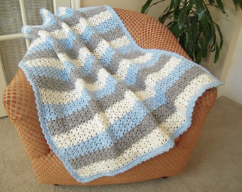 "Crocheted Handmade Baby Afghan, Light Blue/Light Grey/Soft White, 35""W x 39""L"