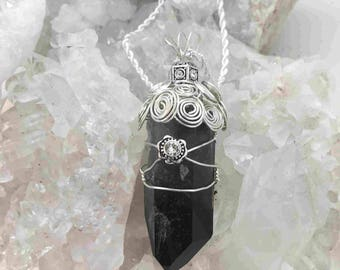Incredibly Powerful Smoky Quartz Wrapped in Sterling Silver Woven Wire - Handmade in the USA