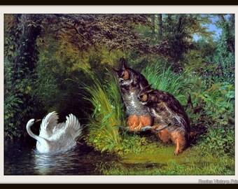 Owl Art Print - Vintage 1865 - Susannah and the Elders - William Holbrook Beard -  Cabin Decor - Owls and Swans
