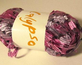 South West Trading Co. Calypso Yarn 550-7 Pink/Gray Ladder Ribbon Yarn