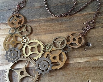 Steampunk Clockwork Gear Bib Necklace II