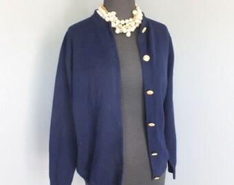 Vintage Navy Blue Cashmere Cardigan, Ballantyne, Scotch House, Scotland, Cashmere Sweater, Nautical, Medium
