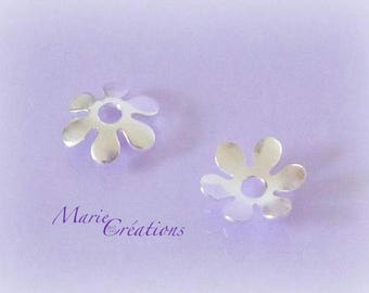 2 cups flowers 9 mm - sterling silver