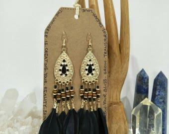 Black & Gold Feather Chandelier Earrings / Boho