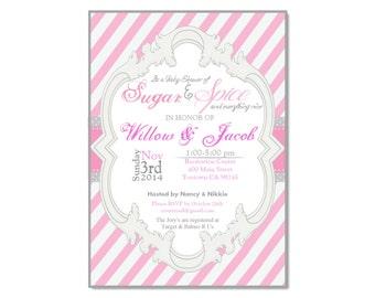 Grey and Pink baby shower invitation, printable, digital file, DIY