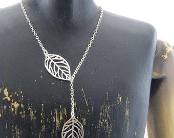 Sterling silver lariat necklace, leaf necklace, leaf lariat necklace, y necklace, sterling silver y necklace, leaf y necklace, nature