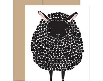 8 Sheep Greeting Cards, Black Sheep Cards, Baby Shower Card, Black Lamb Card, Congratulations Card, Easter Lamb Card, Lamb Greetings