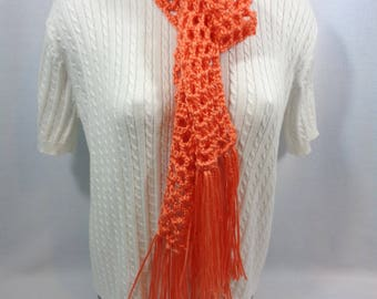 Tangerine Crochet Scarf, Orange Lightweight Scarf, Fashion Accessory, Spring Neckwear, Openweave Design, Gift for Mom, Best Friend Gift