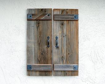 Rustic Shutters. Set of 2. Wooden Door Shutters.   Antique Shutters. Farmhouse Decor. Industrial Decor. Rustic Decor. Indoor or Outdoor. L