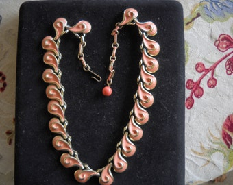 """Pretty In Pink Designer Signed """"CORO"""" Vintage Pink Enamel Goldtone Necklace. Awesome"""