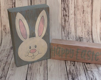 Easter Bunny Wood Block Set - Happy Easter Stacking Block Set - Easter Decor - Easter Sign - Spring Decor - Spring Blocks - Easter Blocks