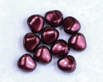 Czech Glass Pearls Burgundy Pearls Czech Nugget Pearls