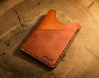 No. 33 Minimalist Wallet Tan Everyday Carry Slim Wallet Leather Card Case- FREE SHIPPING