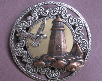 Lighthouse Brooch including Seagull & Sailboat - Three plate finishes - Antique Silver, Antique Copper, Antique Gold - A BZ Designs Original