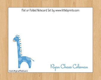 Blue Giraffe Baby Note Cards Set of 10 personalized flat or folded cards