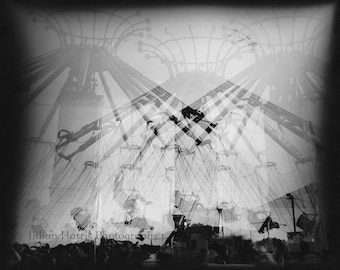 "Multiple Exposure Black and White Silver Gelatin Print - ""Criss Cross"""