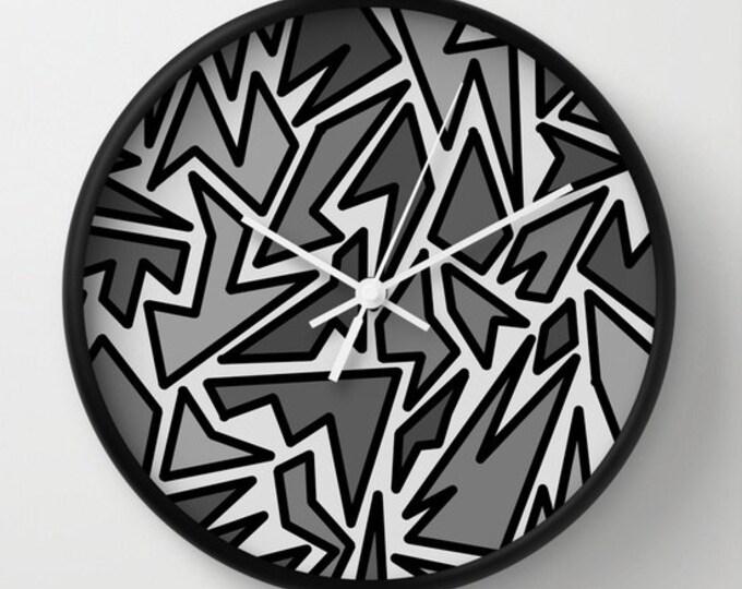 Black and Gray Clock - Wall Clock - Zig Zag Art  - Abstract Black and Gray Art - Made to Order