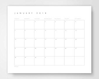 Printable Desk Calendar, 2018 Monthly Desk Calendar, Minimalist Calendar, Calendar Download, Calendar Template, Large Calender, Digital 2018