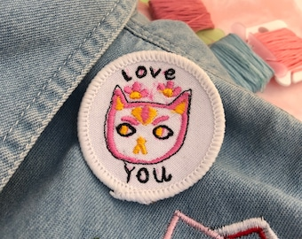 love that cat patch freemotion embroidered diy