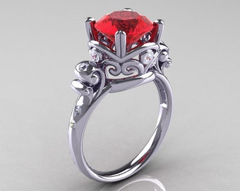 Art Masters Vintage 14K White Gold 3.0 Ct Ruby Diamond Wedding Ring R167-14KWGDR