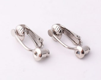 6pairs Silver Clip on Earring converter no tools necessary clip earring adaptor adapter of stud to clips comfortable clip on earrings