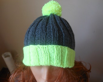Hand Knit Slouchy Beanie Hat Acrylic Gray and Neon Yellow Unisex With Pom Pom