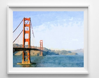 San Francisco bridge print, painting, art print, giclee print, Home Decor Pic no 49