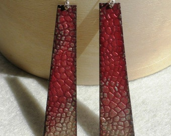 Trapezoid Enamel Earrings in Red Ombre Snake Pattern
