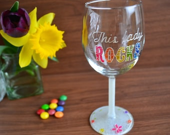 18th birthday gift / girl boss gift - hand painted wine glass, milestone birthday, motivational gifts, best friend gift, rock, floral glass