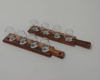 Set of 2 beer flight paddles and 8 beer tasting glasses (mini Belgian tasting glasses)