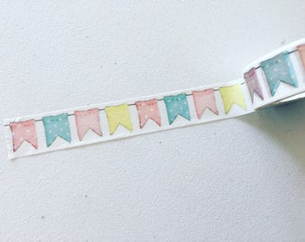 Bunting Washi Tape, Flags Planner Washi, Celebration Washi, Gift Wrapping Tape, Crafting Tape, Planner Supplies, Japanese Washi Tape