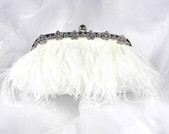 White Ostrich Feather Bridal Clutch Vintage Inspired Wedding Clutch Purse Evening Bag