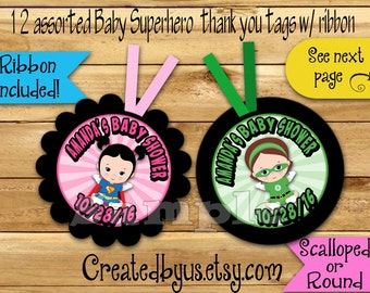 Baby Superhero Thank you tags Baby Shower favors Baby Girl super hero Party Custom Gift tags Birthday Party tags Ribbon incld & assembled