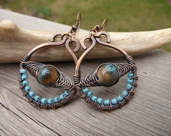 wire wrapped jewelry, turquoise earrings, copper wire jewelry, wire wrap earrings handmade, earrings boho, artisan jewelry, one of a kind