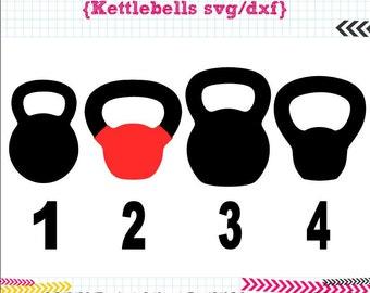 4 Kettlebells SVG DXF Set