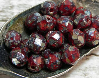6mm - Picasso Beads - Czech Glass Beads - Fire Polished Beads - Red Beads - Red Picasso - Faceted Beads - 25pcs -(1507)