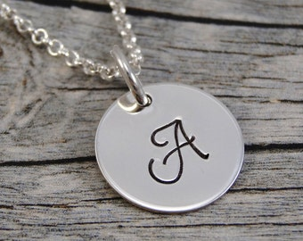 Hand Stamped Jewelry - Personalized Jewelry - Initial Necklace - Sterling Silver Necklace