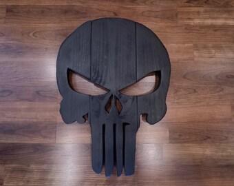 Wooden Punisher Skull Wall Hanging Black