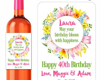 Custom Birthday Wine Labels Personalized Stickers Spring Flower Wreath Daffodils Tulips Lilies