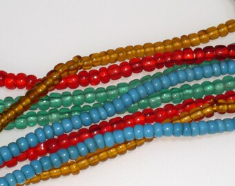 Red Antique African Trade VENETIAN Pony Beads 3mm - 4mm (70 beads)