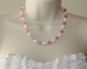 Freshwater Pearl Necklace / Pink Necklace/ Cat's Eye Glass Necklace / Swarovski Crystal Necklace / Beautiful Necklace