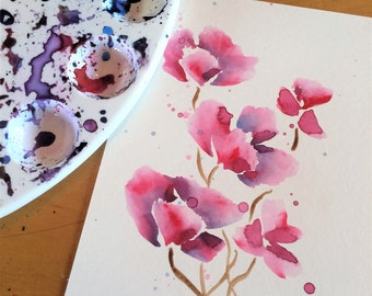 Watercolor Flowers Small Pink