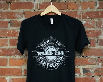 Unisex Black Tri-Blend Supersoft Tee with 'Ward 216' in White Ink